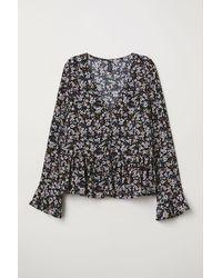 H&M V-Bluse mit Knöpfen - Schwarz