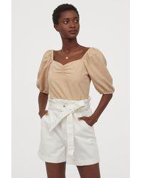 H&M Denim Paper Bag Shorts - White