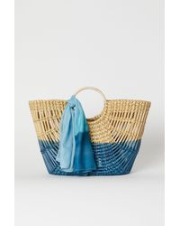 H&M Straw Bag With A Scarf - Natural