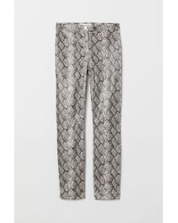 H&M Snakeskin-patterned Trousers - Black