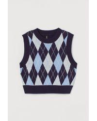H&M Cropped Sweater Vest - Blue