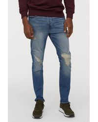 H&M - Skinny Trashed Jeans - Lyst