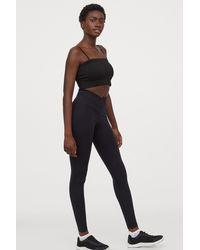 H&M Wrapover-waist Sports Tights - Black