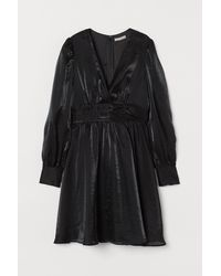 H&M Puff-sleeved V-neck Dress - Black