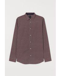 H&M Hemd aus Baumwollmix Slim Fit - Rot