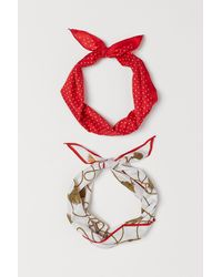 H&M 2-pack Scarves/hairbands - Red