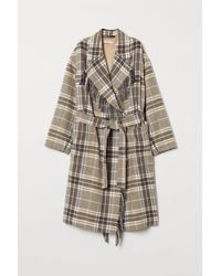H&M Coat With A Tie Belt - White