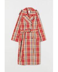H&M Checked Cotton Trenchcoat - Orange