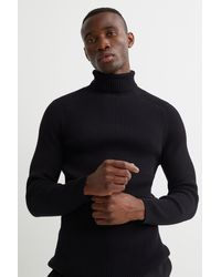 H&M Polo-neck Sweater Muscle Fit - Black