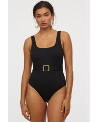 H&M Ribbed Belted Swimsuit - Black