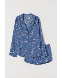 H&M Pyjama Shirt And Shorts - Blue