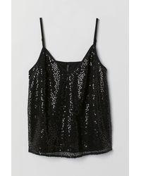 H&M Straptop Met Pailletten - Zwart