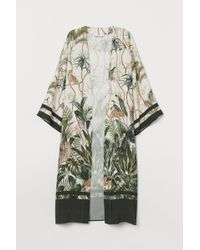 H&M Knielanger Kimono - Grün