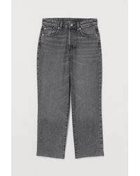H&M Straight High Ankle Jeans - Grey