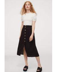 H&M Button-front Skirt - Black