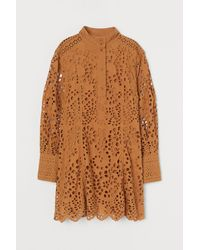 H&M Broderie Anglaise Dress - Natural