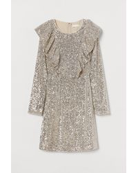 H&M Flounce-trimmed Sequined Dress - Natural