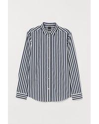 H&M Easy-Iron-Hemd Slim Fit - Blau