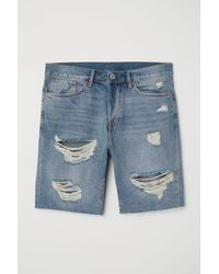 H&M Jeansshorts Straight - Blau