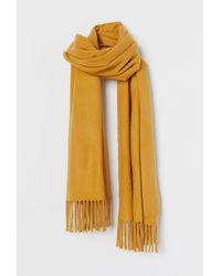 H&M Scarf With Fringe - Yellow