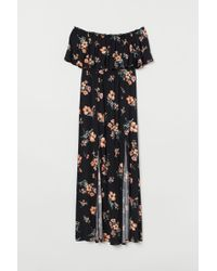 H&M Maxi Dress With A Flounce - Black