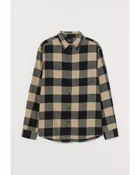 H&M Hemd aus Baumwollflanell - Natur
