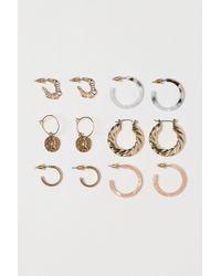 H&M 6 Pairs Hoop Earrings - Metallic