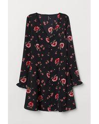 H&M Robe à encolure en V - Noir
