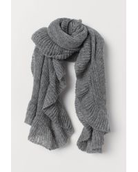 H&M Knitted Flounced Scarf - Gray