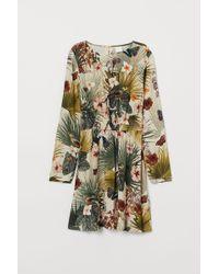 H&M Gemustertes Kleid - Natur