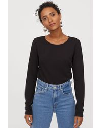 H&M Long-sleeved Jersey Top - Black