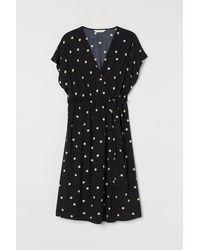H&M Mama Patterned Wrap Dress - Black