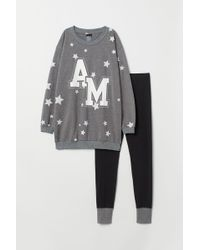 H&M Pyjama Top And leggings - Gray