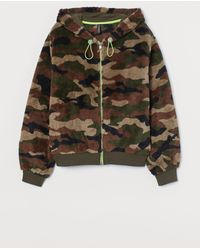 H&M Pile Hooded Jacket - Green