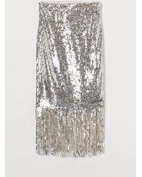 H&M Fringe-trimmed Sequined Skirt - Metallic