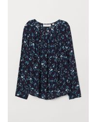 H&M Boat-necked Viscose Blouse - Blue