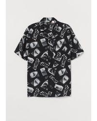 H&M Casual Overhemd Met Dessin - Zwart