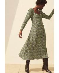 H&M Puff-sleeved Dress - Multicolor