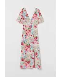 H&M Butterfly-sleeved Dress - Natural