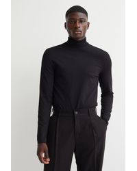 H&M Polo-neck Top Slim Fit - Black