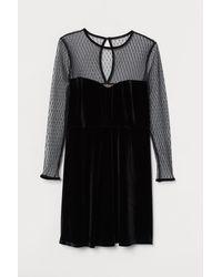 H&M H & M+ Velour Dress - Black