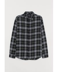 H&M Hemd aus Baumwollflanell - Grau