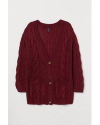 H&M H & M+ Cable-knit Cardigan - Red