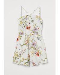 H&M Linen-blend Playsuit - White