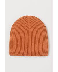 H&M Gerippte Mütze aus Wollmix - Orange