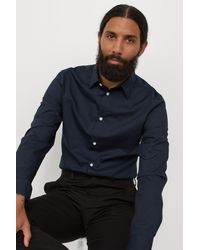 H&M Slim Fit Easy-iron Shirt - Blue