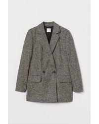 H&M Double-breasted Bouclé Jacket - Black