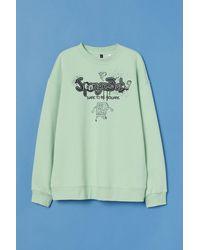 H&M Oversized Printed Sweatshirt - Green