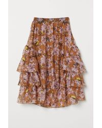H&M Patterned Flounced Skirt