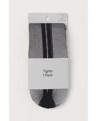 H&M Netzstrumpfhose mit Streifen - Schwarz